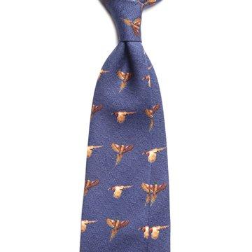 Challis Wool Hunting Tie - Navy