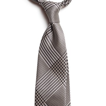 Glen check silk tie