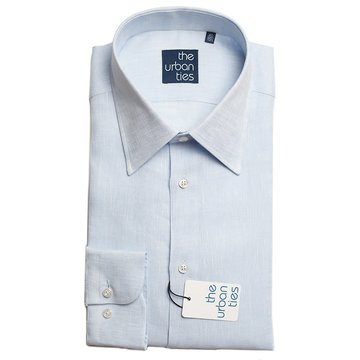 LINEN SEMI-SPREAD SHIRT - BLUE