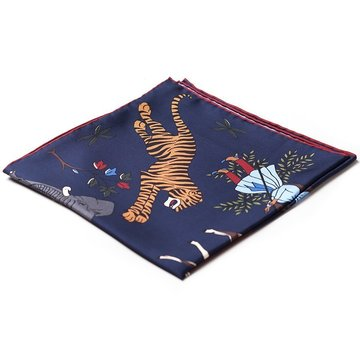 Oriental silk pocket square