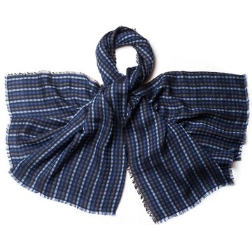 Pin check wool scarf