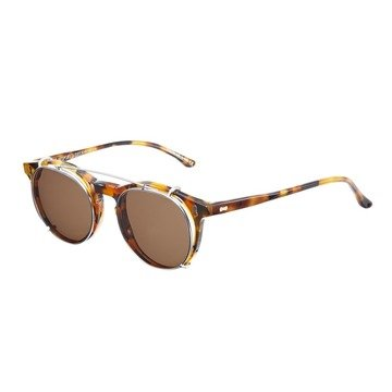 PLEAT AMBER TORTOISE FRAME - TOBACCO LENSES