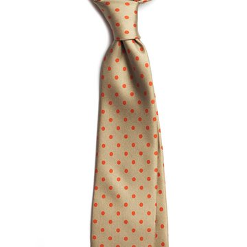 Polka dot silk tie - Tan