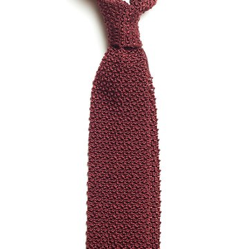 Solid knit silk tie - burgundy