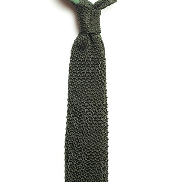 Solid knit silk tie - green