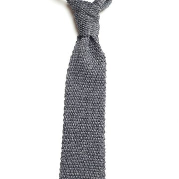 Solid knit silk tie - grey