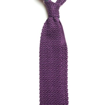 Solid knit silk tie - purple