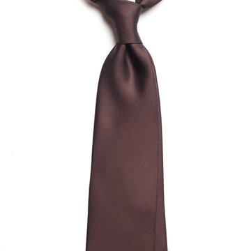 Solid silk tie - brown