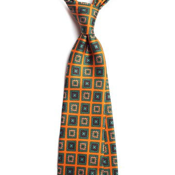 Vintage Medallion Silk Tie - Orange