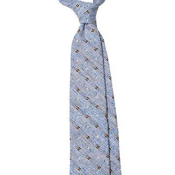 Cravata lana bleu model floral