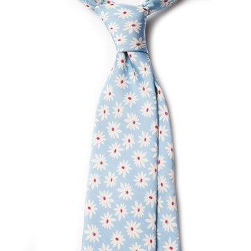Cravata matase bleu model floral