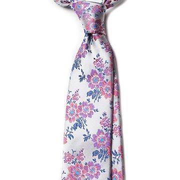 Cravata matase argintie model floral