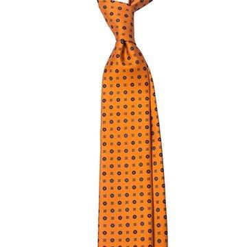 Cravata matase portocalie model floral