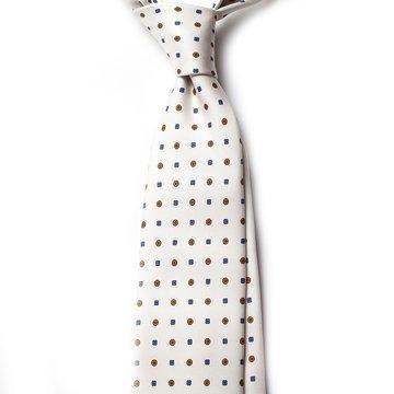 Cravata matase alba model floral