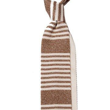 Cravata matase tricotata maro cu dungi