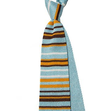 Cravata matase tricotata bleu cu dungi