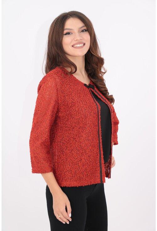 Blazer caramiziu tricotat