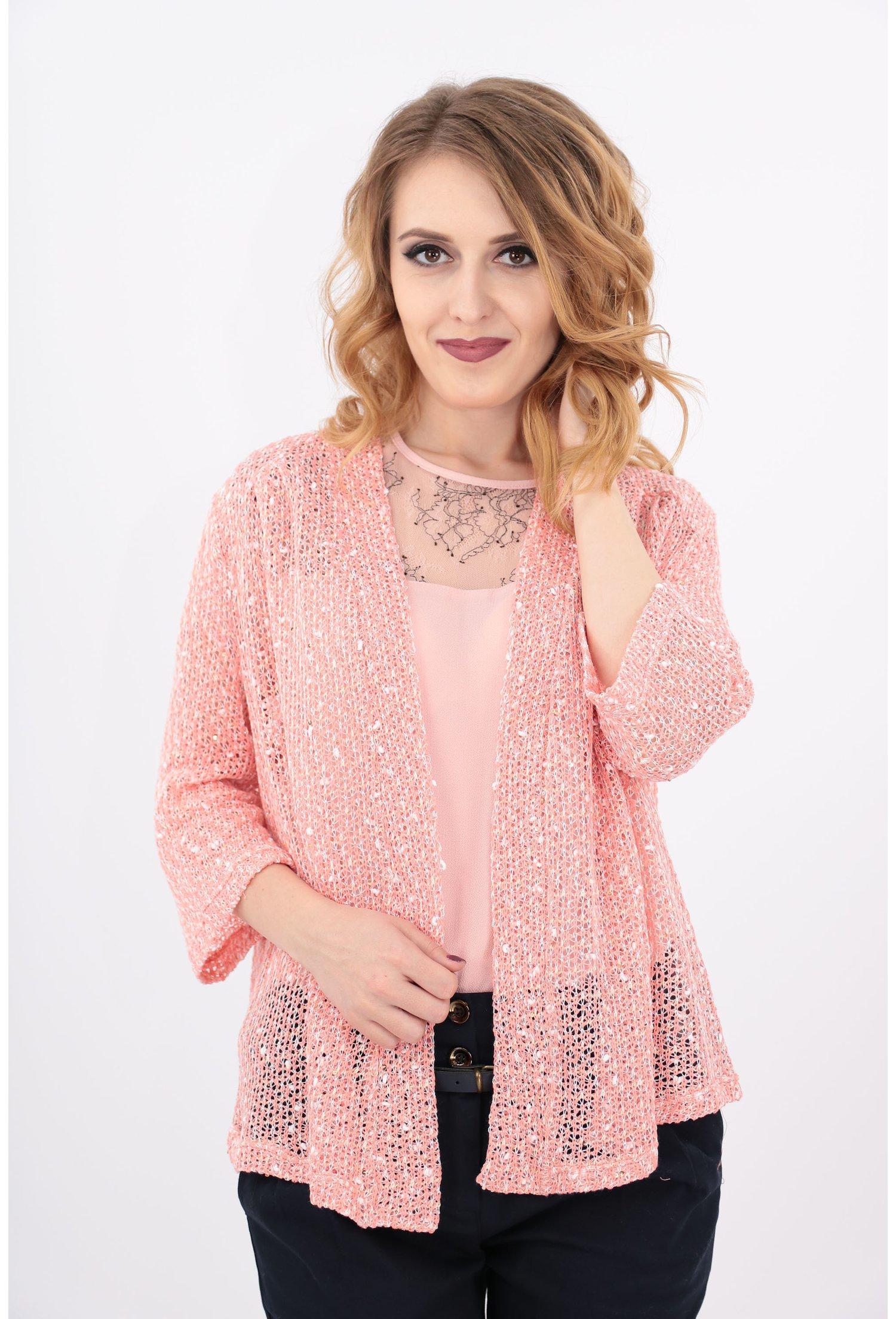Imagine Blazer Tricotat Roz Cu Paiete Aurii