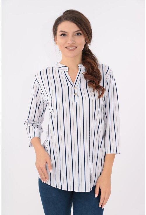 Bluza alba cu dungi bleumarin si guler tunica