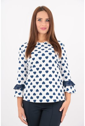 Bluza alba cu inimioare bleumarin