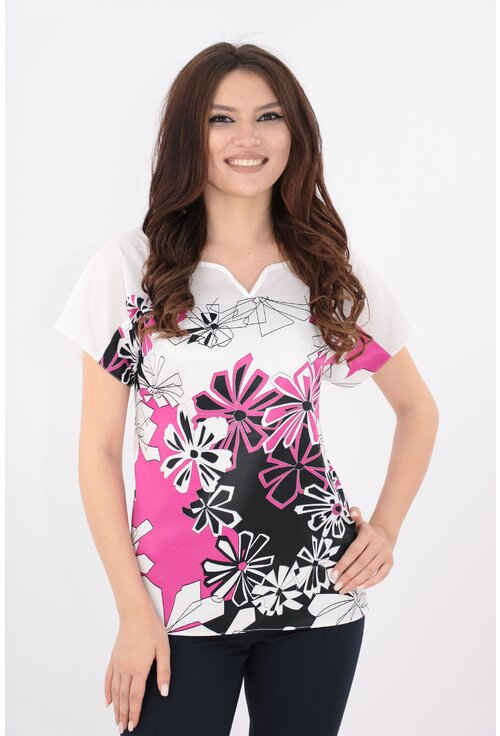 Bluza alba cu print abstract fucsia