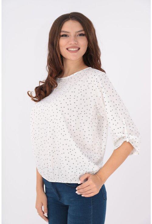 Bluza alba cu print discret