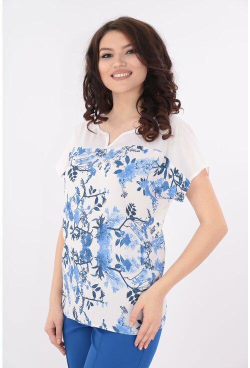 Bluza alba cu print floral bleu