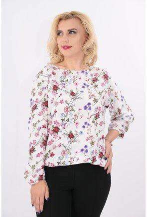 Bluza alba cu print floral multicolor