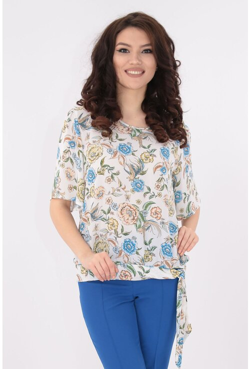 Bluza alba din matase cu print floral