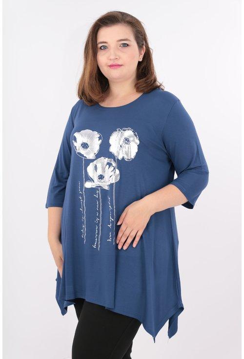 Bluza albastra cu desen argintiu
