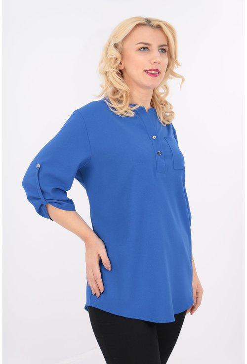 Bluza albastra cu guler tunica