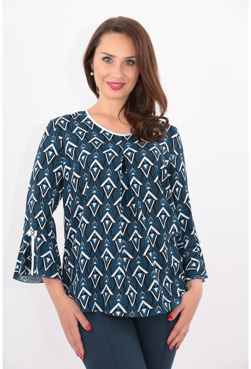 Bluza albastra cu imprimeu geometric