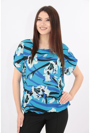Bluza albastra cu print floral maxi