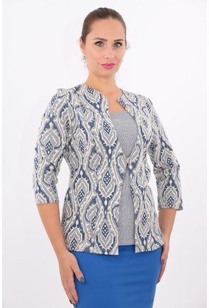 Bluza albastra tricotata cu aspect de sacou