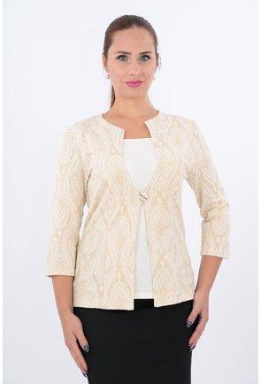 Bluza bej tricotata cu aspect de sacou