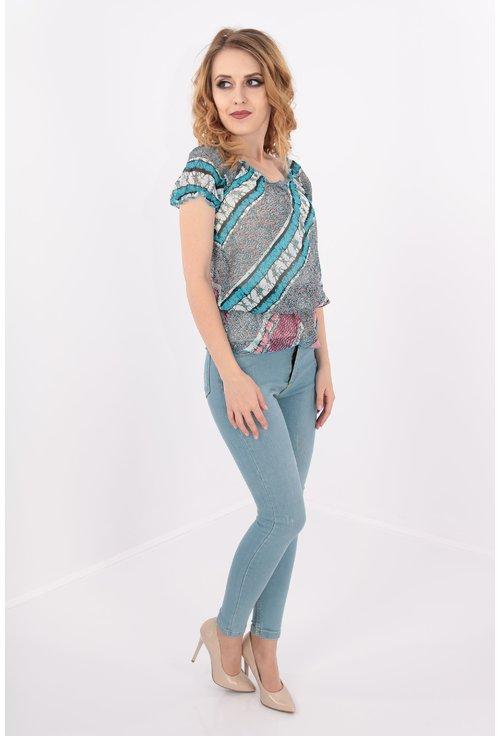 Bluza bleu cu elastic in talie