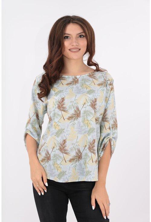 Bluza bleu cu frunze galbene-maro