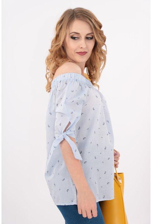 Bluza bleu cu imprimeu fin