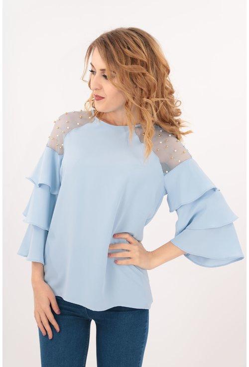 Bluza bleu cu perle pe umeri