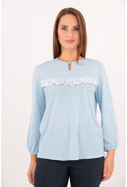 Bluza bleu cu volanas din dantela