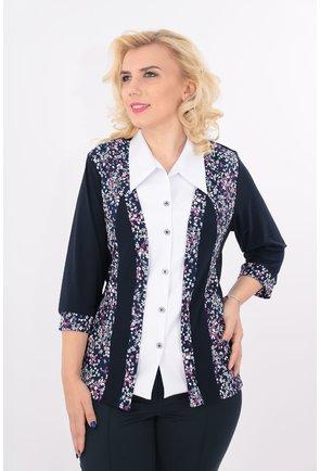 Bluza bleumarin cu aspect de sacou