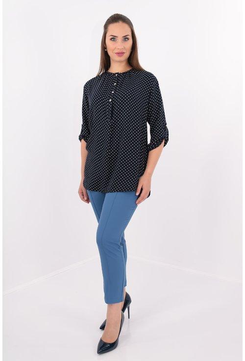 Bluza bleumarin cu buline albe