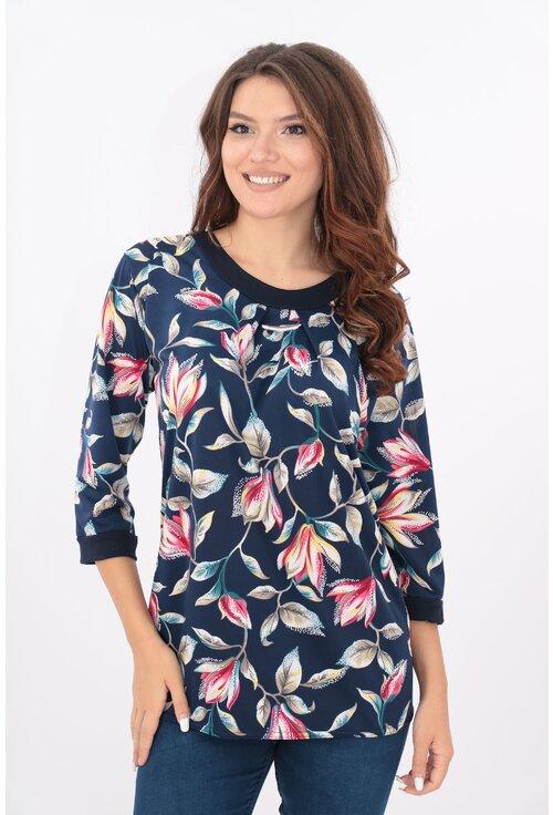Bluza bleumarin cu crini rosii