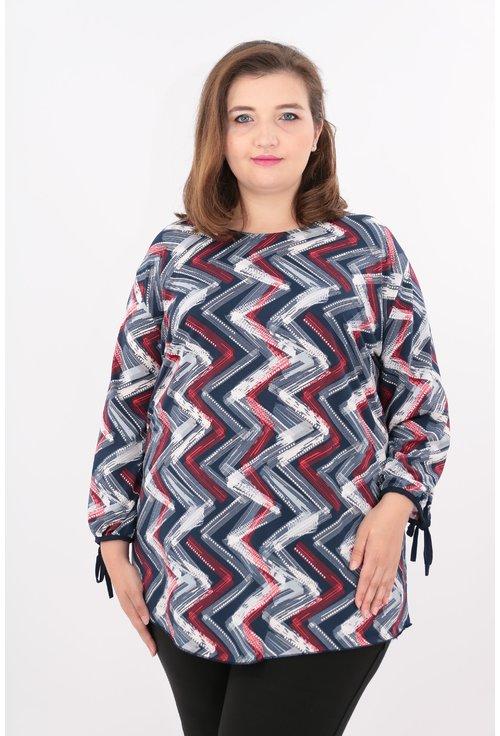 Bluza bleumarin cu desen geometric
