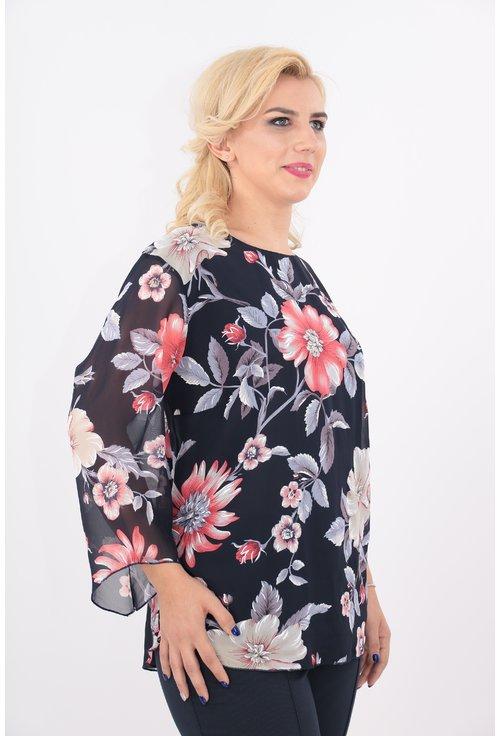 Bluza bleumarin cu flori corai