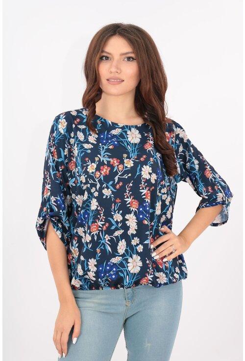 Bluza bleumarin cu flori muticolore