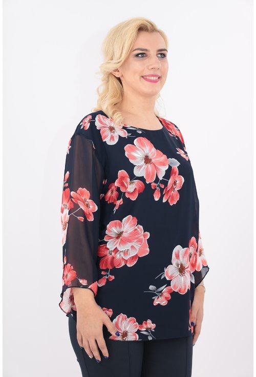 Bluza bleumarin cu flori rosii