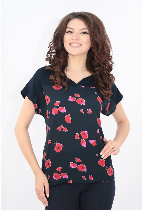 Bluza bleumarin cu imprimeu floral fucsia