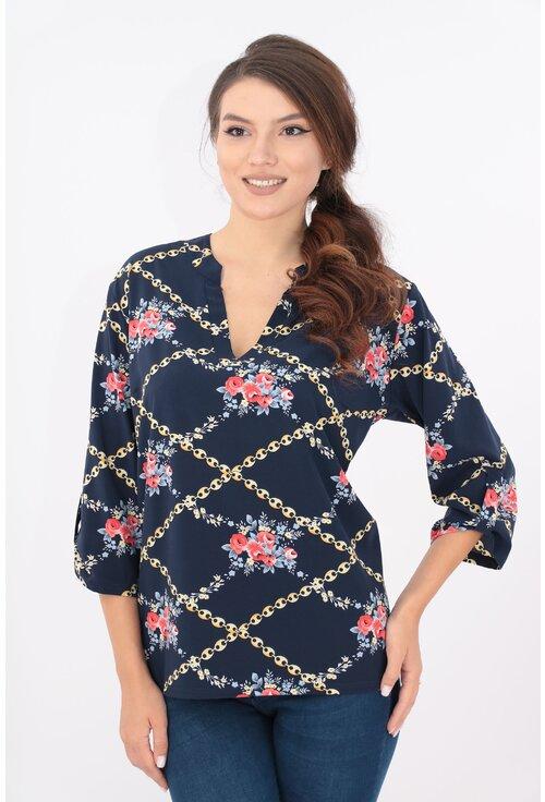 Bluza bleumarin cu model floral si guler tunica