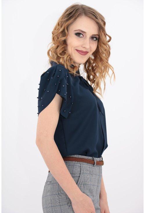 Bluza bleumarin cu perle